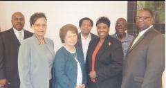 (L to R) Sgt. James Jackson, Birmingham Police Dept.; Ms. Annetta Nunn, Ms. Virginia Volker, Rev. Carl Jones, Ms. Maxine Lewis, Mr. Edward Speights, Rev. Rodney Dillard.