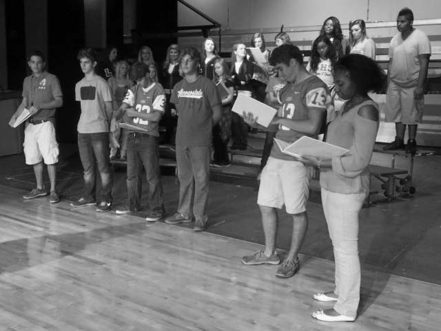 "Rehearsing for ""Listen to that Cold Steel Ring"" are: (Front row from left) Tristan Barnes, Jeremy Money, Garret Karns, Ryan Dozier, Adam Brown and Tia Garner. (Back row from left) Ali Chambers, Cayla Cook, Elise Turner, Kaitlin Dozier, Allison Beason, Gabby Towery, Kayla Durough, JaNissi Smith, Maya Everett and Xavier Taylor. (Not pictured: Kyle Taylor and Connor Jannot.)"