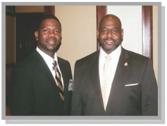 Alpha Phi Alpha Fraternity ΜΨΛ Chapter President, Clifford L. Kennon (left) is seen with current General President Bro. Mark S. Tillman