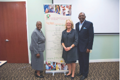 (above l to r):  Annie Neasman, CEO – Jessie Trice Community Health Center, Penny Duckham - Executive Director, Kaiser Media Fellowship; and Sherwood Dubose, Board Chairman, Jessie Trice Community Health Center.