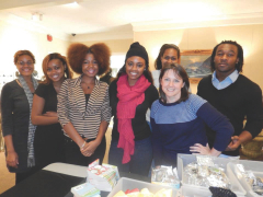 Photographed above, left to right, at the Pine Valley Retirement Community Christmas Bazaar are Ashley Irby, Elizabeth Carver, Alyssa Gant, Jacquelyn Jackson, Ashlee Smith, Dr. April Kendrick, and Harkeal Hardy.The students, who are taking Dr. April Kendrick's Psychology of Aging course, helped unload equipment from vendors; decorate dining halls and hallways; and serve food at the Christmas Bazaar.They are also writing digital stories about elderly individuals.