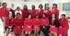 Front row: (L to R):  Jacqueline Carter, Barbara Clemon, Mamie Alexander; Dr. Gwen Tilghman, Chapter President; Stephanie Ayers-Millsap, Cynthia Garrett and Bernadine Roby. Back row (L to R):  Dathia Means, Jana Roland-Williams, Bettie Glover, Carmen Perkins, Lillian Mosley, Sarah Buie, Linda Dumas, Karen Lee