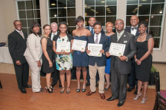 Pictured front row left to right: Mr. Walvid King, UNCF; Councilor Sheila Tyson, District 6; Sylvia Williams, District 8 Office; Mr. Anthony Marino, Marino's (from Ramsay High School: Miss Devin Mitchell, Miss Arneshia Parrish and Mr. Wilbert Wilson; Mr. Brandon Davis –Wenonah High School. Back row: Councilor Marcus Lundy, Jr., District 9, Melva Langford, District 8 Office; Councilor Steven and Mrs. Daphne Hoyt, District 8.