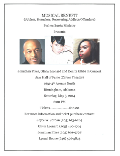B7 PER DR LEWIS.Musical Benefit For May 3, 2014