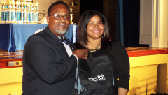 Robert Smith; Director of Public Affairs Bright House Networks presents new Dell Laptop and carrying case to Jordan Kurtz of Ramsay High