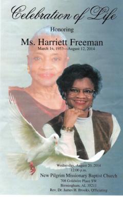 OBIT HARRIET FREEMAN