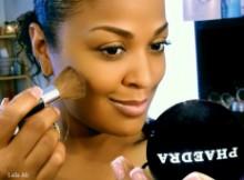 Laila Ali wearing Phaedra Beauty Cosmetics