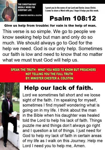 christianway and speak the truth help out lack of faith