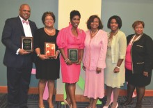 (L to R): Award recipients Birmingham Councilor Steven Hoyt, Representative Juandalynn Givan, Cheryl Eldridge with Gwendolyn Tilghman, Stephanie Ayers Millsap, Vice-President of Omicron Omega and Linda Dumas, 90th Anniversary Committee Chairman