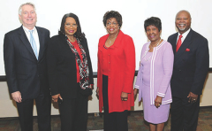 Sisters Beverly Williams-Cleaves, MD, second from left; Ethelyn Williams-Neal, MD, center; and Willie Williams Crittendon, PhD, are pictured at the inaugural Community Diabetes Lectureship, which they endowed in memory of their parents at the University of Tennessee Health Science Center (UTHSC). Guy Reed, MD, chair of the UTHSC Department of Medicine, is at far left, and featured speaker, James Gavin III, MD, is at right.