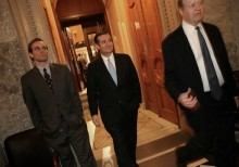 U.S. Sen. Ted Cruz (C) (R-TX) leaves the U.S. Senate chamber with Sen. Richard Shelby (R) (R-AL) after the Senate voted to approve a $1.1 trillion omnibus funding bill December 13, 2014 in Washington, DC. Despite Cruz's efforts to delay the vote due to objections with U.S. President Barack Obama's immigration orders, the Senate approved the funding and will avoid a government shutdown. (Photo by Win McNamee/Getty Images)
