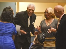 Dr. Jesse Lewis, Sr. is greeted before the show by friends and family.   Through The Lens, an evening to honor the publishing and advertising work of Dr. Jesse Lewis, Sr. held at the Lyric Theatre in Birmingham, Alabama Wednesday February 10, 2016. (Frank CouchThe Birmingham Times)