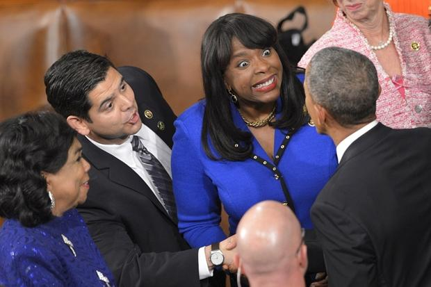 President Barack Obama greets Alabama Rep. Terri Sewell.