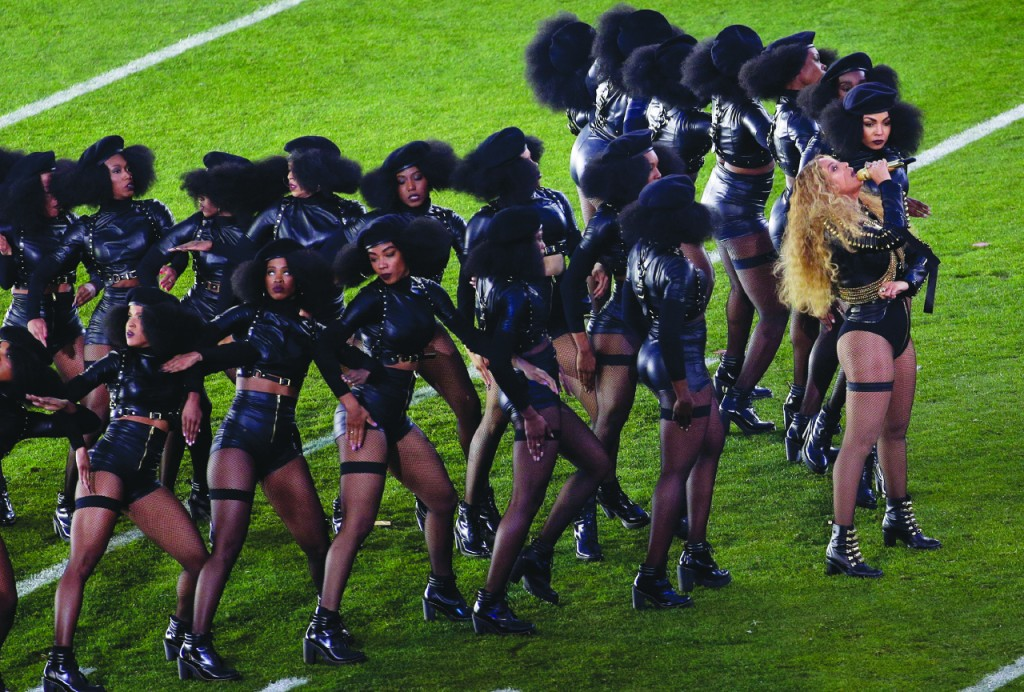 Caption: Beyoncé performs during halftime of the NFL Super Bowl 50 football game Sunday, Feb. 7, 2016, in Santa Clara, Calif. (AP Photo/Charlie Riedel)