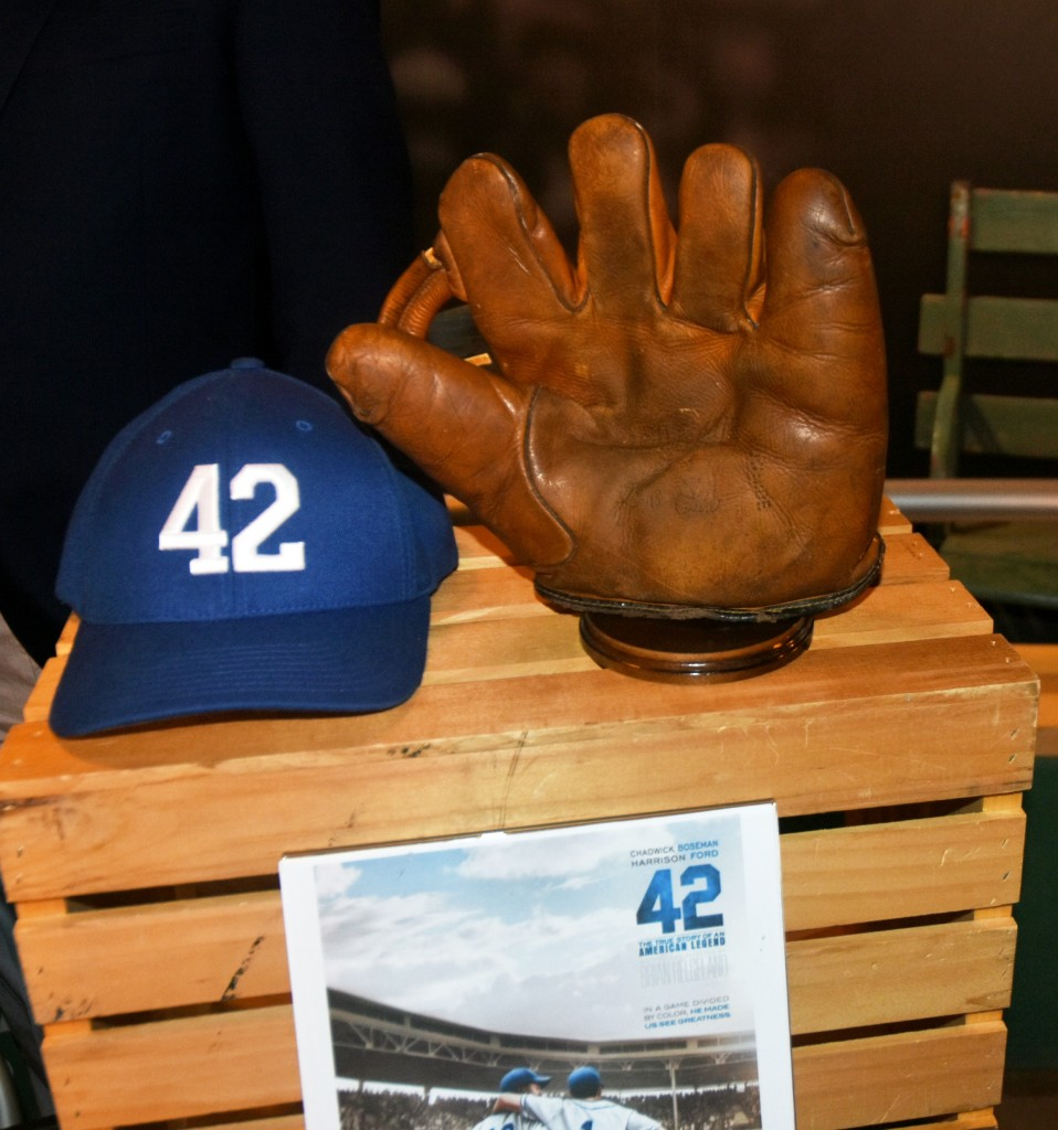 Vintage Brooklyn Dodgers cap and glove on display at the Negro League Southern Baseball museum in downtown Birmingham.