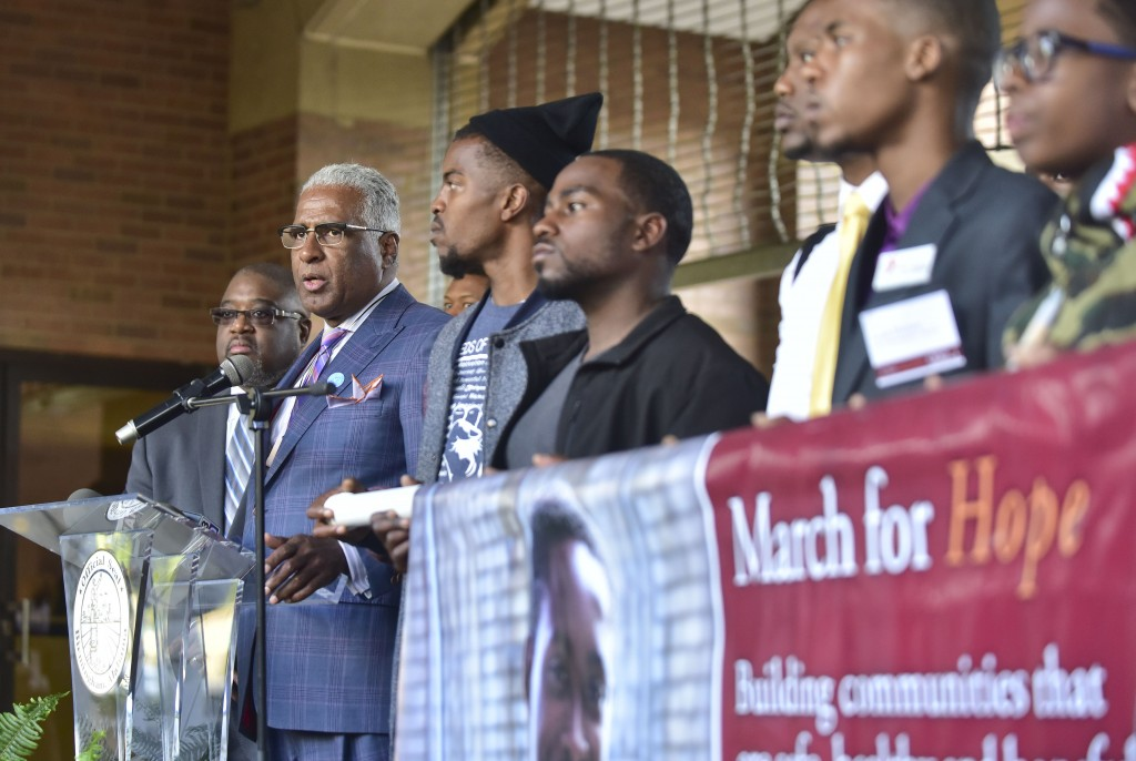 A brief press conference was held at the conclusion of the March for Hope at the Birmingham Civil Rights Institute. The opening session for the 2016 Cities United and March for Hope Tuesday May 3, 2016 in Birmingham, Alabama.  (The Birmingham Times / Frank Couch)