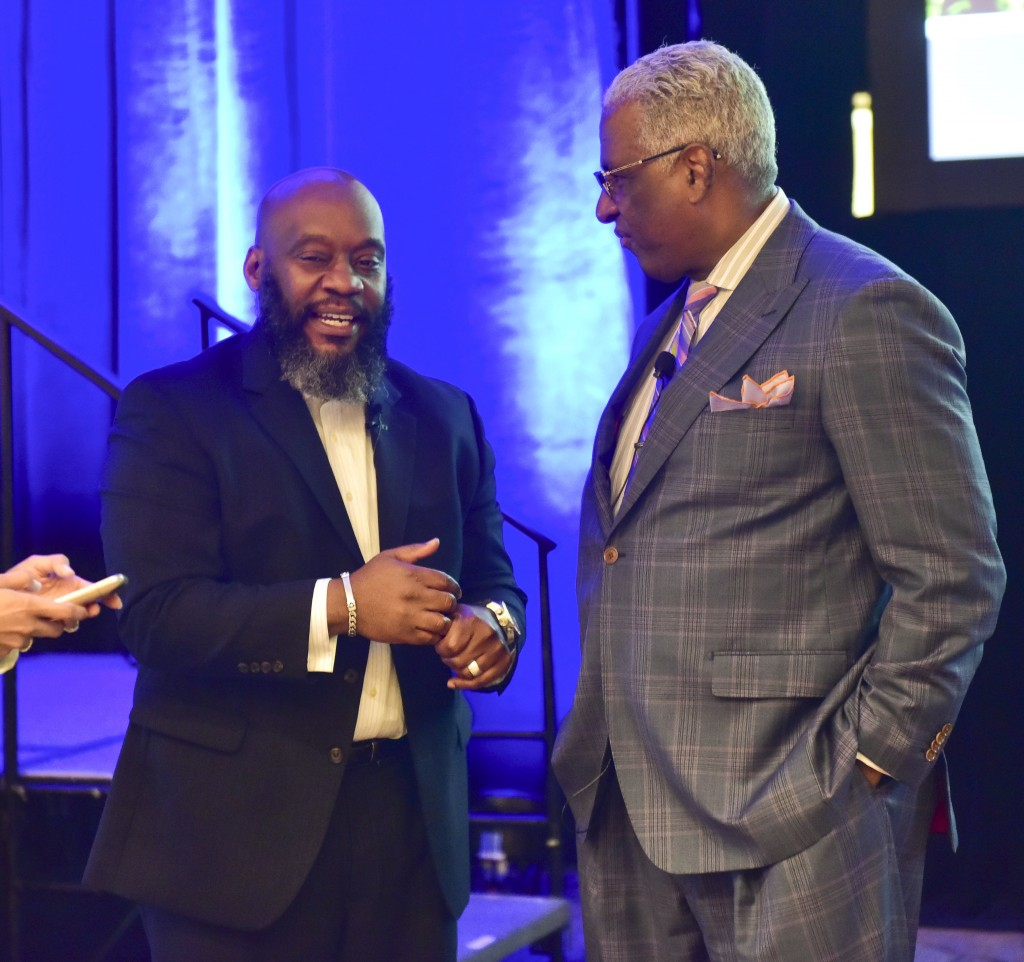 Cities United Executive Director Anthony Smith and Birmingham Mayor William Bell speak before the conference opened. The opening session for the 2016 Cities United and March for Hope Tuesday May 3, 2016 in Birmingham, Alabama.  (The Birmingham Times / Frank Couch)