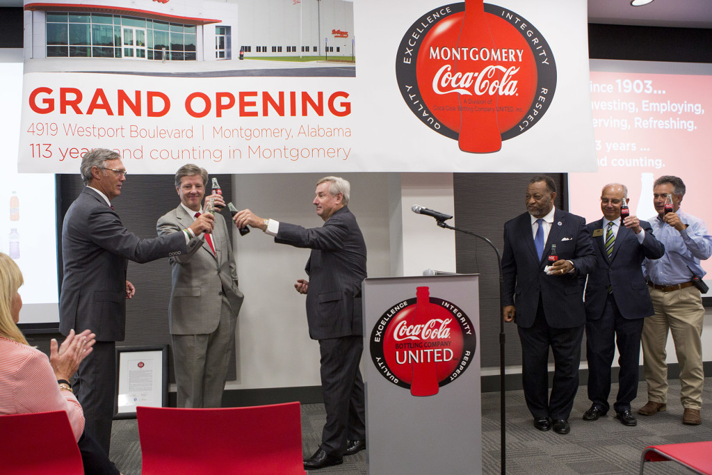 Left to Right:  John H. Sherman, Chief Executive Office, Coca-Cola Bottling Company UNITED, Claude B. Nielsen, Chairman of the Board, Coca-Cola Bottling Company UNITED, Montgomery Mayor Todd Strange, Montgomery County Commission Chairman Elton N. Dean Sr., Montgomery Chamber Board Chairman A. Bruce Crawford and Prattville Mayor Bill Gillespie Jr.