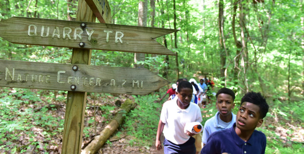 Growing Kings recently took a group of 5th grade boys from Husdon Elementary School in Birmingham to Ruffler Mountian Nature Center to experience the outdoors. (Frank Couch/The Birmingham Times)