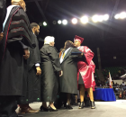 Debra Redwine walked across the stage in honor of her son, Armani Flowers.