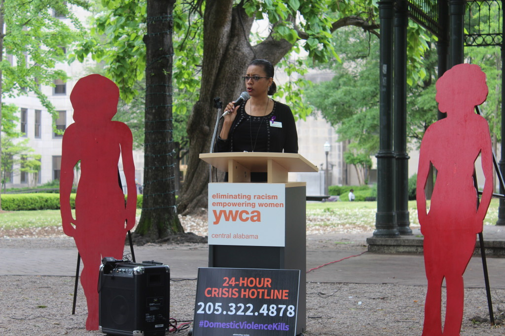 YWCA CEO Yolanda Sullivan expresses her frustration and anger with the domestic violence-related killings that have happened in Birmingham throughout the year. (Ariel Worthy/Birmingham Times)