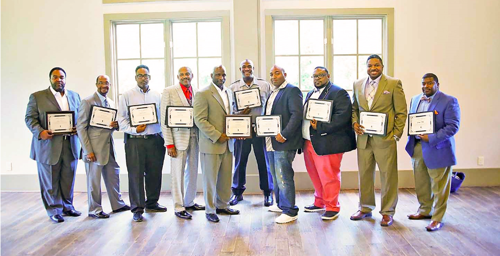 From left: Antonio Boswell, Joe Lockett, Sr., Antoine Arrington, Wayne Nunn, Sr., Joe Lockett, Jr., William Benson, Abdul Alwahiid, Myca Clark, Curtis Richardson, Derrick King.