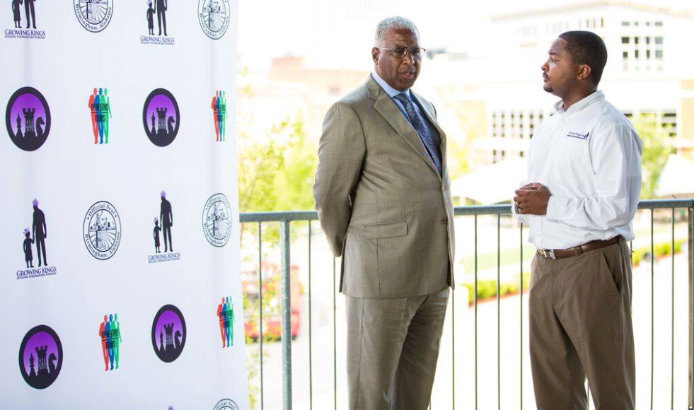 Marcus D. Carson (right), founder, executive director, growing kings, Inc. with Birmingham Mayor William Bell. Growing Kings, Inc. will host its annual 100 mentors in 100 days to kick off event at Regions Field Sunday. (PROVIDED PHOTO)