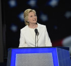 Democratic presidential nominee Hillary Clinton speaks to the audience at the Democratic National Convention. (ABC/Ida Mae Astute)