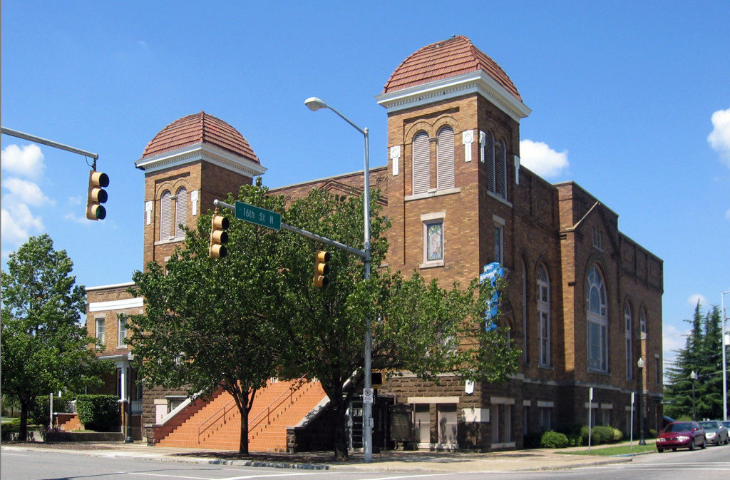"The Sixteenth Street Baptist was organized in 1873 as the First Colored Baptist Church of Birmingham. Throughout its history, Sixteenth - which became known as ""Everybody's Church"" - was used as a meeting place, social center, and lecture hall for black citizens. (Wikimedia Commons)"