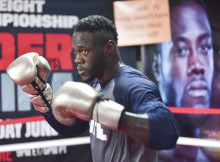 WBC Heavyweight Champion Deontay Wilder works out in front of the media Tuesday July 5, 2016 at Skyy Gym in Northport, Alabama. (Frank Couch, The Birmingham Times)