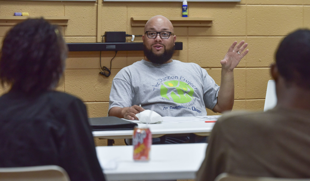 Camera Blue leads a class on Restorative Justice for people who have just entered the program. (Frank Couch / The Birmingham Times)