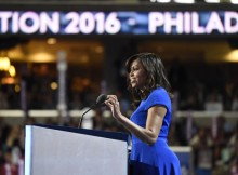 First Lady Michelle Obama speaking at the Democratic National Convention. (ABC/ Ida Mae Astute)