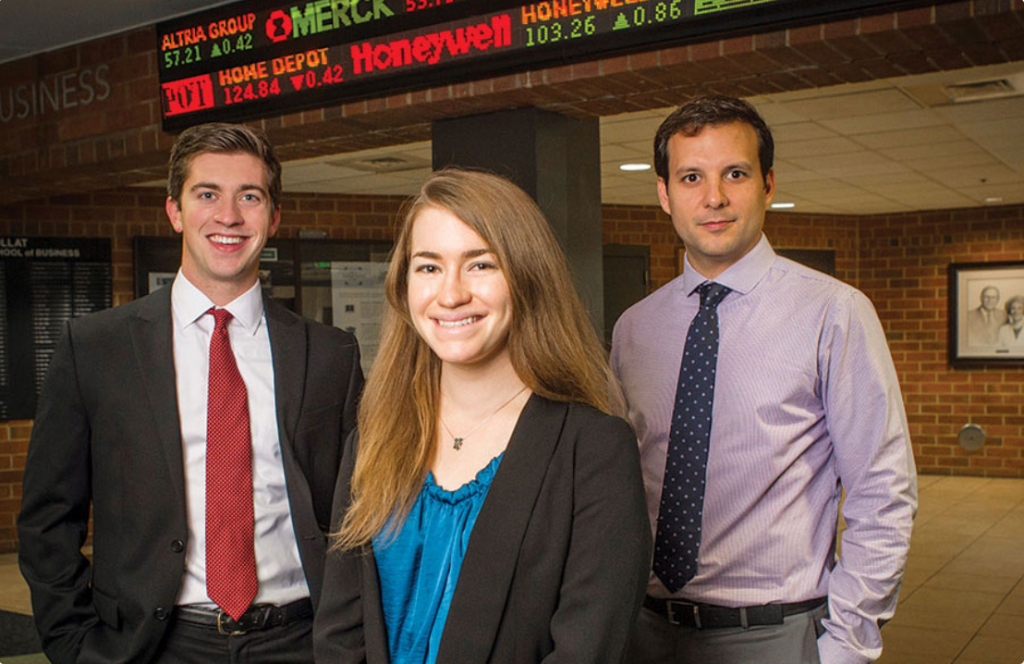 Recent members of the Green and Gold Fund include chief economist Matthew Bush and portfolio managers Margot Beerman and Daniel Sanabria. (Steve Wood, UAB Photo)