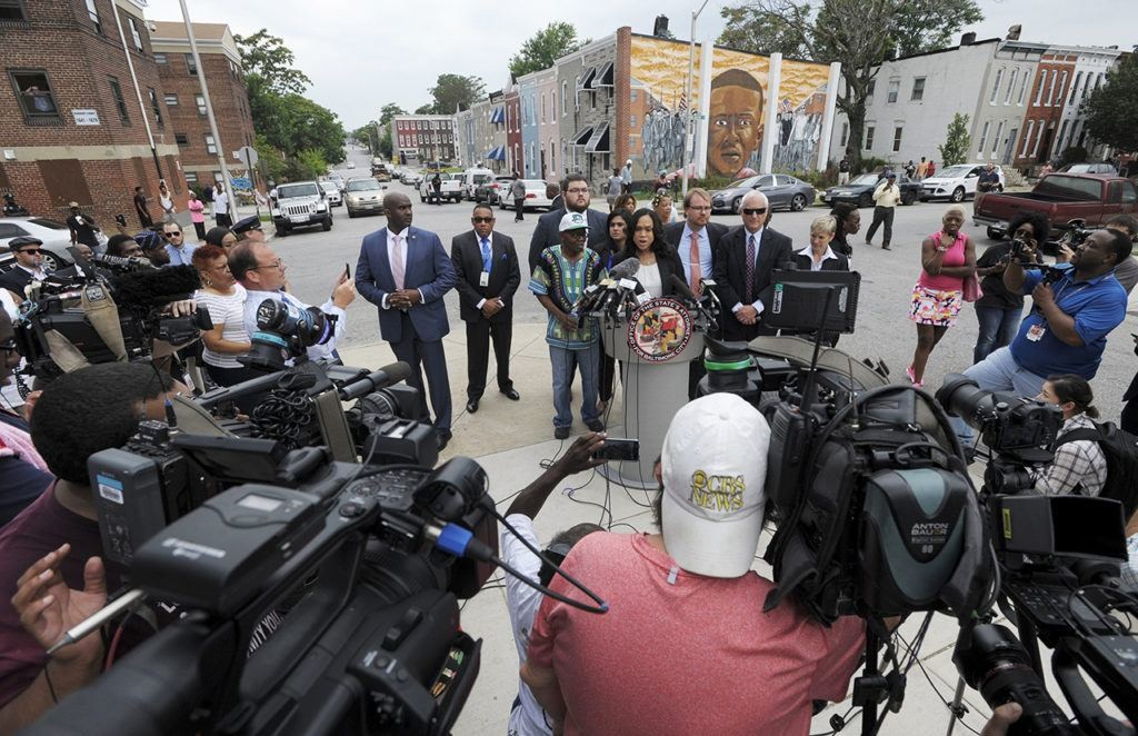Marilyn Mosby speaks to press in Baltimore. (Steve Ruark/Associated Press)