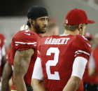 San Francisco 49ers quarterbacks Colin Kaepernick, left, and Blaine Gabbert stand on the sideline during the second half of an NFL preseason football game against the Green Bay Packers on Friday, Aug. 26, 2016, in Santa Clara, Calif. Green Bay won 21-10. (Tony Avelar, Associated Press)
