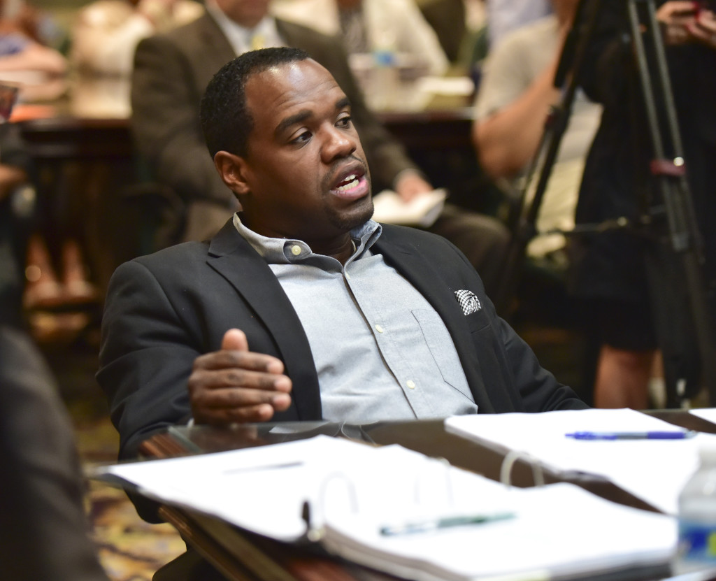 Council President Johnathan F. Austin asks a question about a proposed rental contract during August's Budget and Finance committee hearing. (Frank Couch photos, The Birmingham Times)
