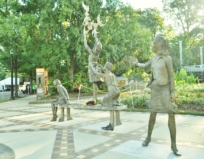 The 'Four Spirits,' designed by Elizabeth MacQueen, was unveiled at Kelly Ingram Park in September 2013. The statue depicts the four victims of the 16th Street Baptist Church bombing. (Wikipedia photo)