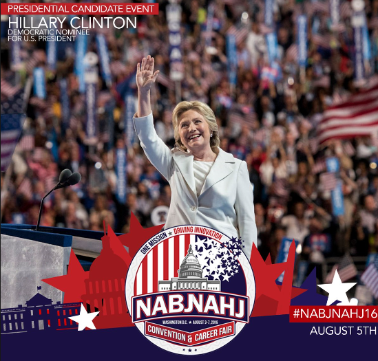 Democratic presidential nominee Hillary Clinton to appear at joint convention of the National Association of Black Journalists and the National Association of Hispanic Journalists.