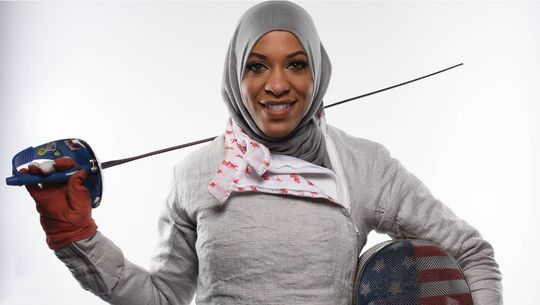 Ibtihaj Muhammad speaks out against Islamophobia and is celebrated for making sports history as the first Black Muslim woman to represent the United States in hijab. (US Olympics photo)