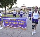 Members of the Purple Marching Machine made their way from the band room around the campus before an on-the-field practice. Practice is underway in Fairfield for the Miles College band, whose season begins Sept. 4. (Frank Couch photos, The Birmingham Times)