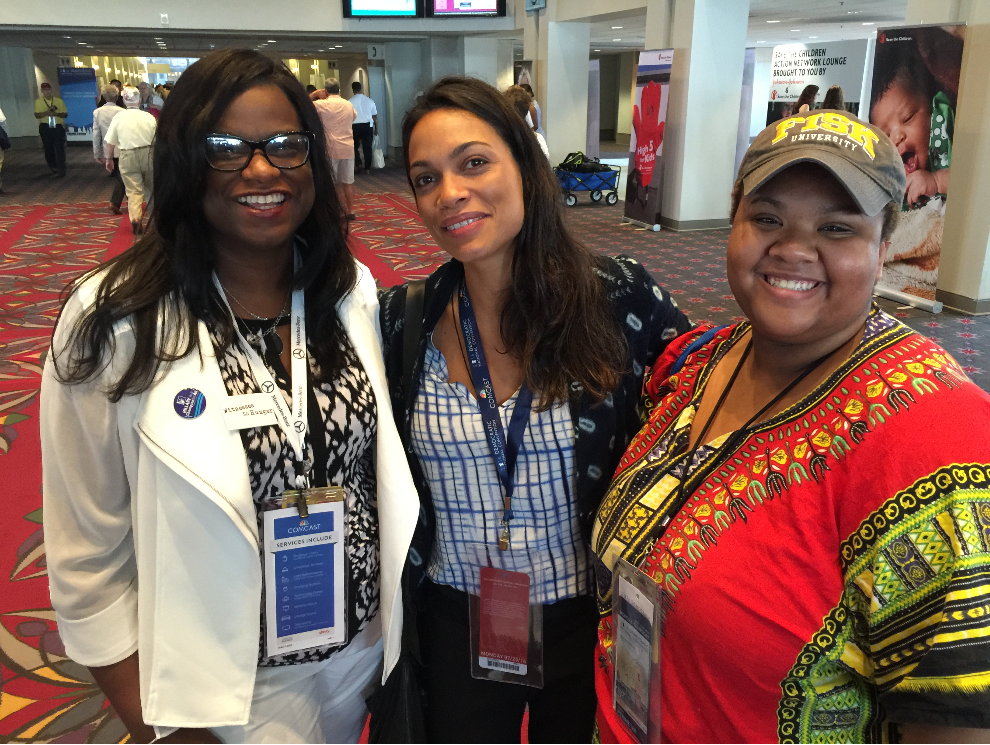 From left: Delegates  Jarralynne Agee; actress Rosario Dawson and Nayirah Muhammad at the 2016 Democratic National Convention. (Provided photo)