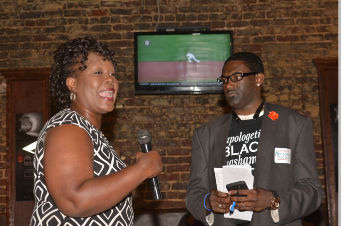 LeDarrius Hilliard, (right) president of the Jefferson County Millennial Democrats with Birmingham City Councilor Sheila Tyson. (Stephonia Taylor Mclinn photo, special to The Times)