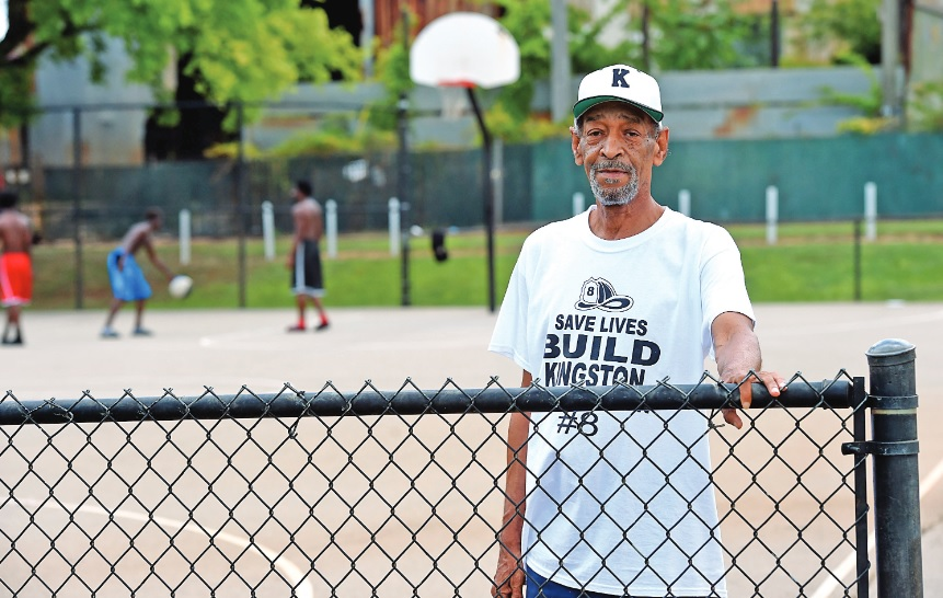 Hamidullah Rahmann poses by a basketball court that is scheduled to be renovated at Stockham Park. (Mark Almond, special to The Times)