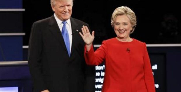 Republican presidential nominee Donald Trump and Democratic presidential nominee Hillary Clinton are introduced during the presidential debate at Hofstra University in Hempstead, N.Y., Monday, Sept. 26, 2016. (David Goldman, Associated Press)