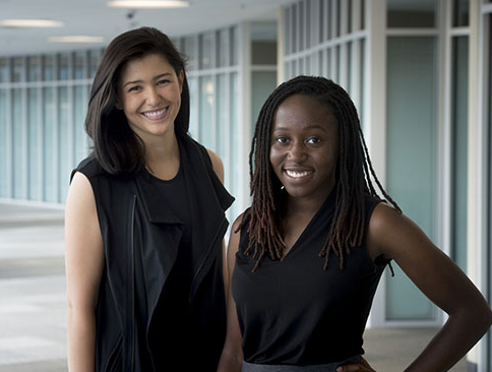 For more than a year, Morgan Zipperly (left), a UAB M.D./Ph.D. student, has helped mentor undergraduate Maria Onatunde (right) as part of the Preparation for Graduate and Medical Education program. (Provided photo, UAB)
