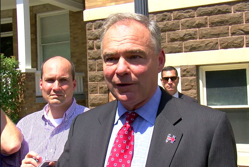 Democratic Vp Choice Tim Kaine Talks National Issues While