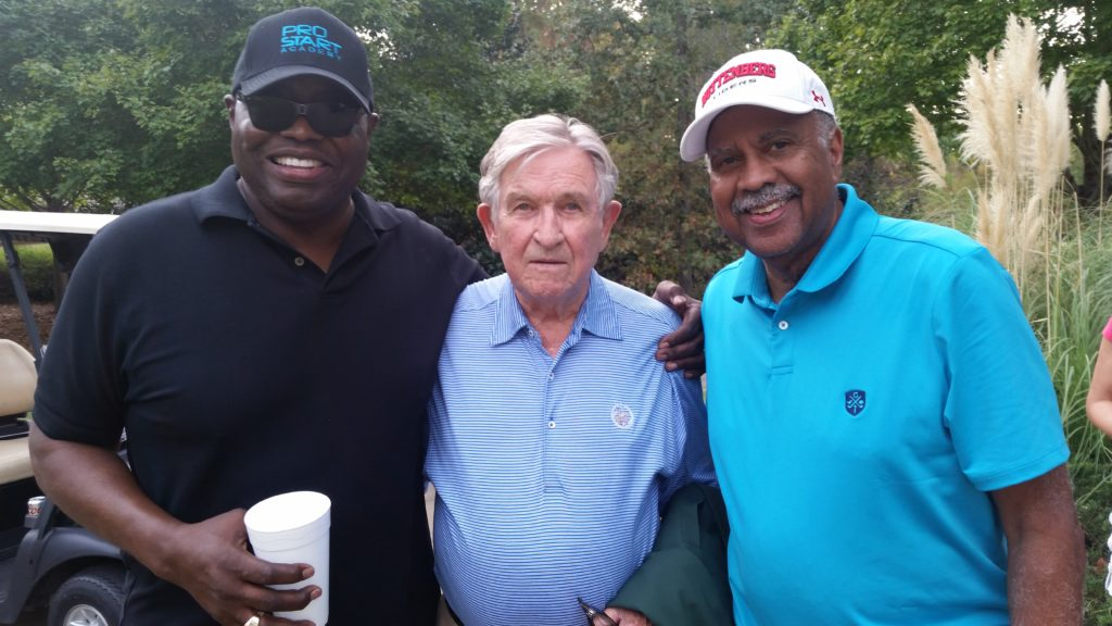 From left, Gary Burley, his former University of Pittsburgh coach Johnny Majors and Fred Mitchell. The trio gathered at the conclusion of last Thursday's charity golf tournament at Greystone Country Club.