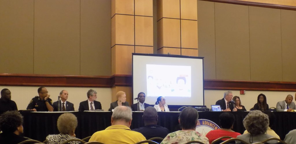 "The ""Race and Policing in America"" panel during the Alabama NAACP's 64th Annual Convention brought citizens, law enforcement, and criminal justice experts together for dialogue about police reform. (Monique Jones, The Birmingham Times)"