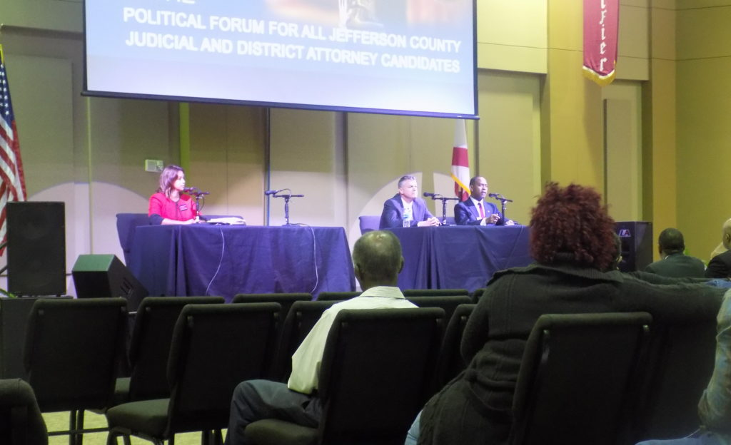 (From right) Candidates Elizabeth French, Michael Glover, and Clyde Jones speak to voters during Monday's forum held at Guiding Light Church by The Gatekeepers Association. (Monique Jones, The Birmingham Times)