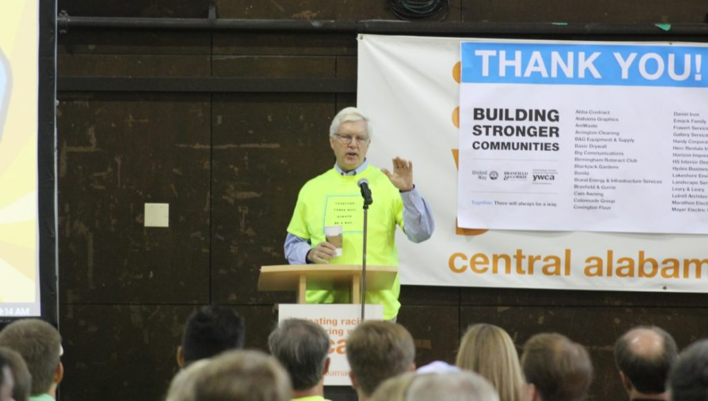 Jim Gorrie thanks the room of volunteers and subcontractors during Wednesday's reveal of new renovations at the YWCA.